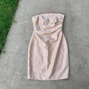 Kay Unger Pink Pinstripe Strapless Mini Dress Silk